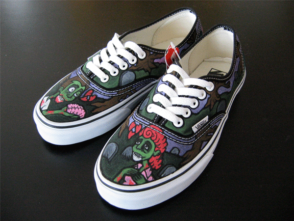 hand painted custom vegan shoes by tony price