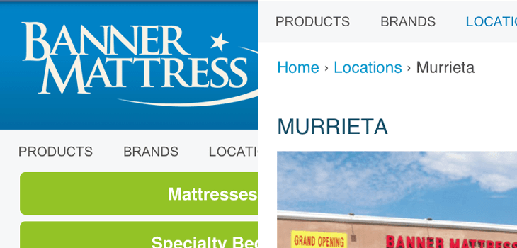 Banner Mattress Responsive Mobile Site